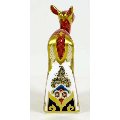31 - A Royal Crown Derby paperweight, 'Sherwood Fawn', MMVI, limited Signature Edition 157/495 pre releas...