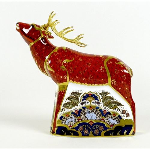 33 - A Royal Crown Derby paperweight, 'Sherwood Stag', MMIV, limited edition 376/395 specially commission...