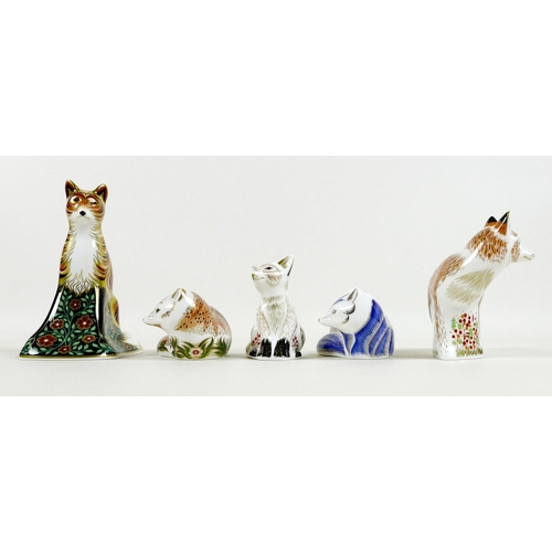 34 - A group of five Royal Crown Derby paperweights, all modelled as foxes, comprising 'The Leicestershir...