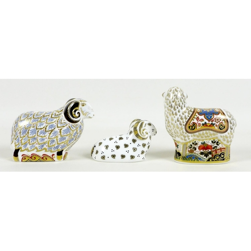 36 - A group of three Royal Crown Derby paperweights, comprising 'Premier Ram', one of a Time Limited Edi...