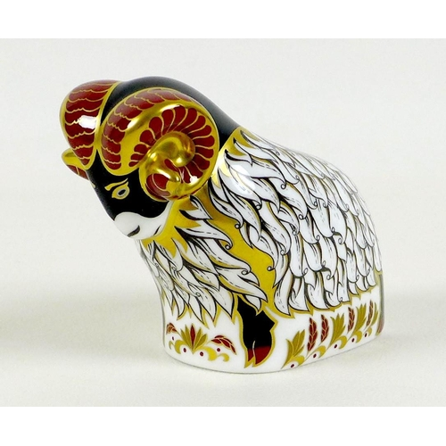 37 - A football related Royal Crown Derby paperweight, modelled as 'Derby County Ram', one of a Exclusive...