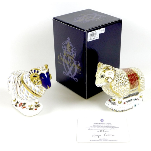 38 - Two Royal Crown Derby paperweights, comprising 'Ram', LIII, no stopper, 13.7cm high, no box, and 'Th...