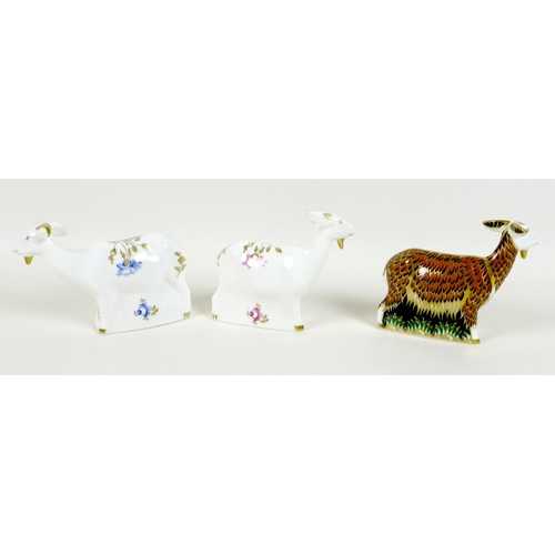 39 - A group of three Royal Crown Derby paperweights, all modelled as goats, comprising 'Nanny Goat', Exc...