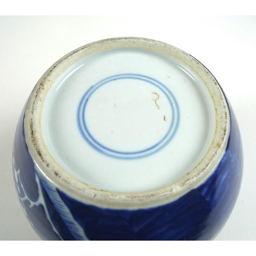 4 - A Chinese blue and white ginger jar and cover, late 19th century, decorated in underglaze blue with ...