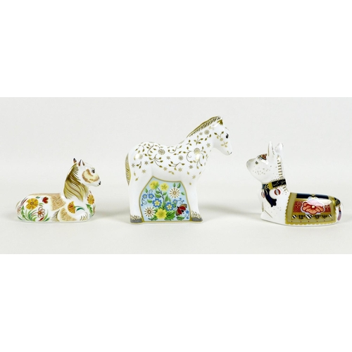 40 - A group of three Royal Crown Derby paperweights, all modelled as foals, 'Shetland Pony Foal', limite...