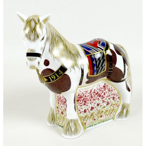 44 - A Royal Crown Derby commemorative paperweight, modelled as 'The Derby War Horse', Commemorating the ...