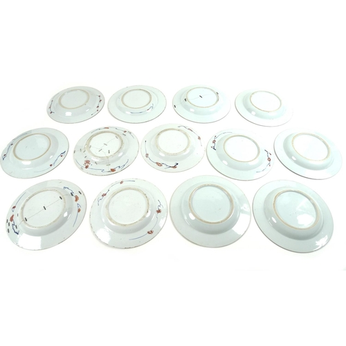 5 - A group of thirteen 19th century Chinese Export porcelain circular dishes, all decorated in similar ...