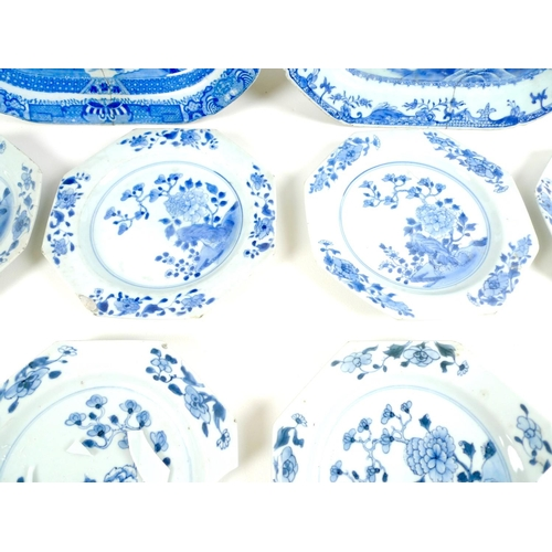 6 - A group of six 19th century Chinese Export porcelain octagonal dishes, each similarly decorated in u...