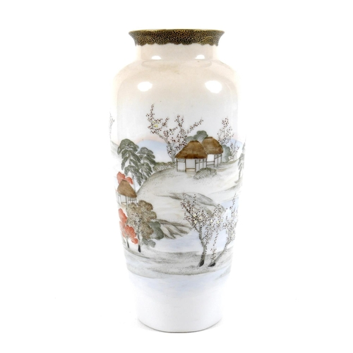 7 - A Japanese Satsuma pottery vase, decorated with a continuous landscape, cherry blossoms, trees and h...