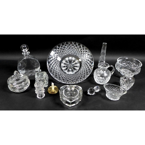 72 - A collection of Waterford Crystal glass wares, including a shallow bowl, 26.5 by 7cm, pedestal bowl,...