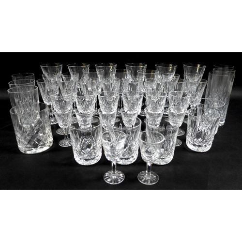 73 - A collection of Waterford Crystal glasses in the Lismore pattern, comprising six red wine, 15cm high...