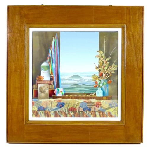 253 - Graham Arnold (British, 1932-2019): 'The Quiet Gathering', a trompe l'oeil, depicting a landscape vi...