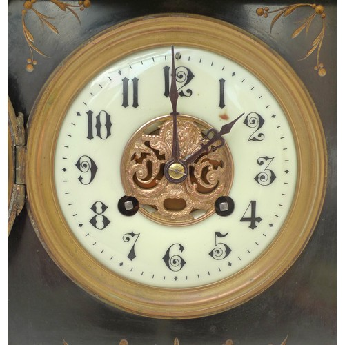 325 - A Victorian slate mantel clock, of architectural form with marble pilasters and carved decoration, 8...