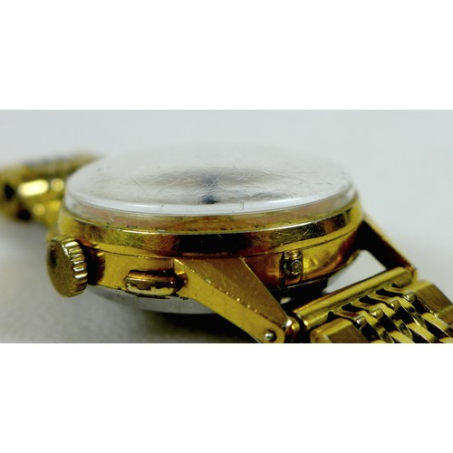 136 - A rare Angelus Chronodato gold plated gentleman's wristwatch, circa 1950s, with triple calendar and ...