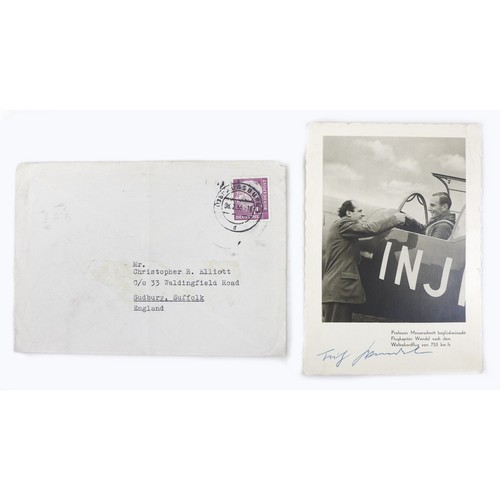 3 - A collection of WWII German fighter pilot signatures and photographs, including a handwritten letter...