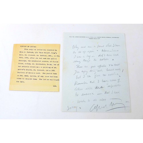 16 - A collection of Artist signatures and related ephemera, including a handwritten letter from Alfred M...