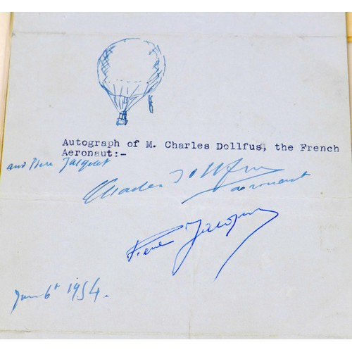 19 - A collection of early aviation ephemera, including a signatures of French Aeronaut Charles Dollfus, ...