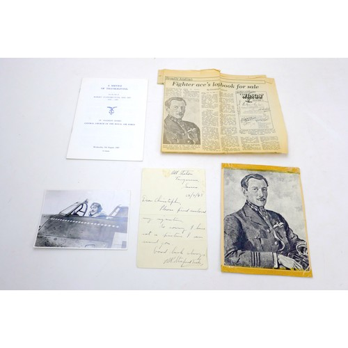 9 - A collection of WWII RAF pilot correspondence and signatures, including a handwritten letter from Ro...