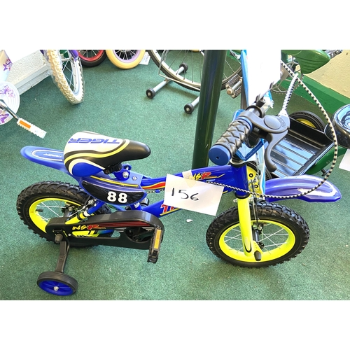 156 - A Tiger NSR blue painted boy's bike, in the form of a motocross bike, with stabiliser wheels and mud...