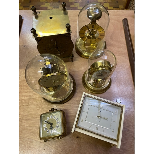 12 - Three Clocks with Glass Domes and Three Other Clocks