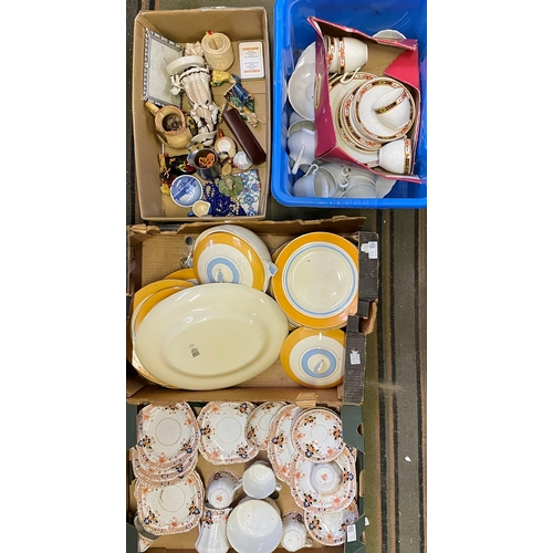 16 - Four Boxes containing Tea Set,Figurines,Partial Dinner Set,Etc...