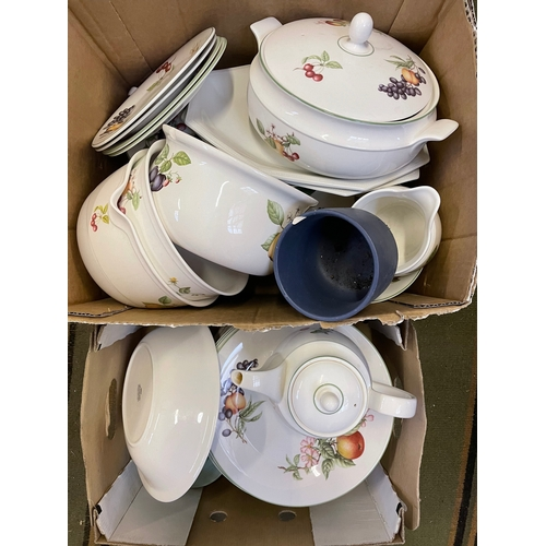 17 - Ceramics including part sets, dinnerwares etc, in two boxes