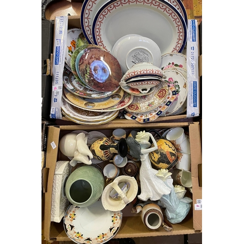 19 - Early 20th century cups and saucers, collectors plates and other modern ceramics in two boxes
