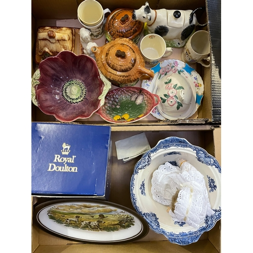 20 - Two Boxes Containing Burlington Ware,Johnson Brothers Blue and White,a Boxed Royal Doulton
