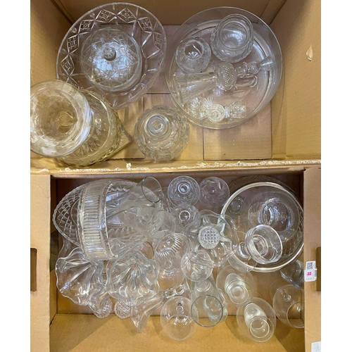 22 - Two boxes of glassware including an Edinburgh Crystal (unmarked) thistle decanter, drinking glasses,...