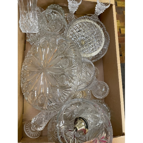 23 - Cut glass vases, bowls, sugar sifters and other glass in one box