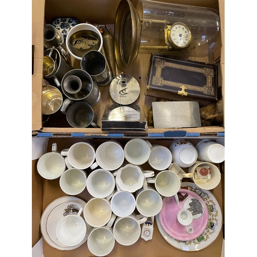 26 - Two Boxes Containing Coronation Ware,Tankards,Clock with Glass Dome,Etc...