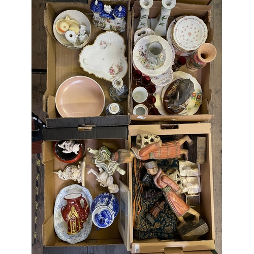 30 - Four Boxes of Ceramics,Two Oriental Wood Figures, Two Laughing Buddhas, Border Fine Arts 'Mother's C...