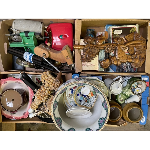 35 - Four Boxes of Assorted Ceramics,Glass,Silver Plate,Etc...