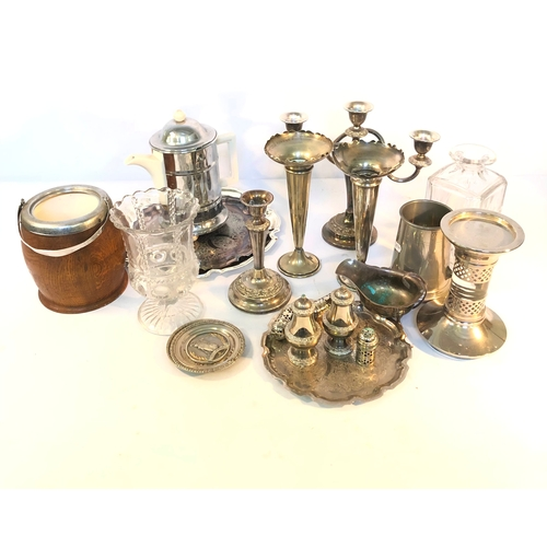 54 - Two Boxes of Silver Plate,Brassware,Glass,Etc...