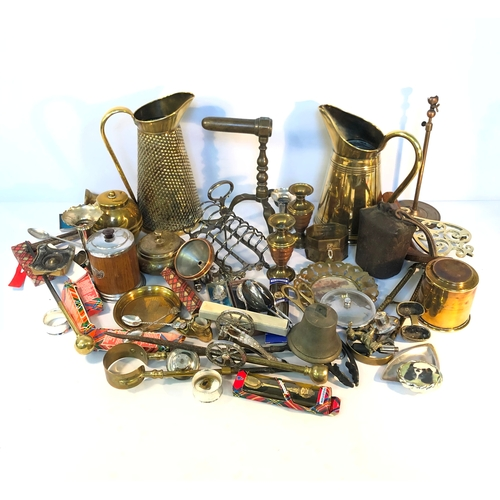 54 - Two Boxes of Silver Plate,Brassware,Glass,Etc