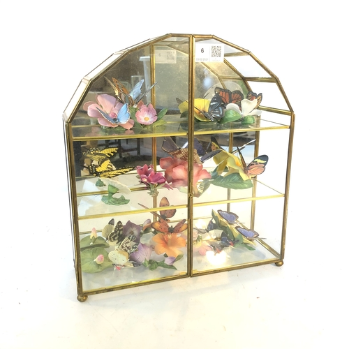 6 - Glass Display Case containing Ceramic Butterflys