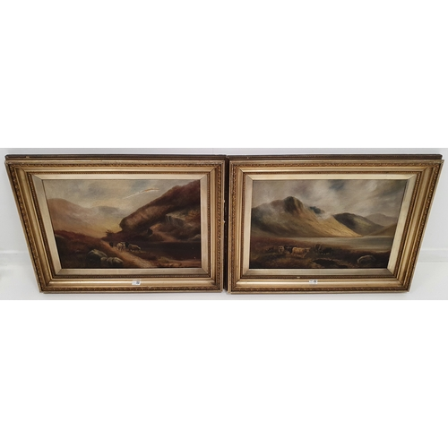 430 - Pair large gilt framed oils on canvas of highland cattle signed Dora Hulme and dated 1914