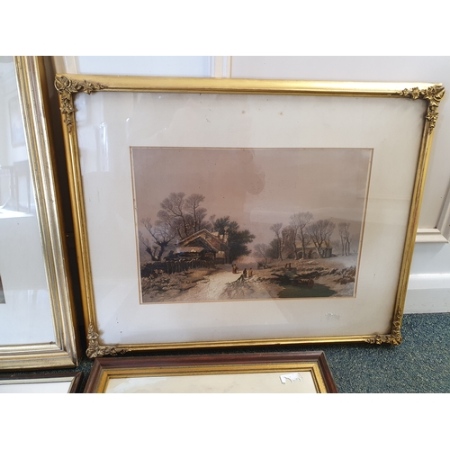 607 - Early 20th century landscape watercolour, gilt framed winter lithograph, maritime watercolour and a ...