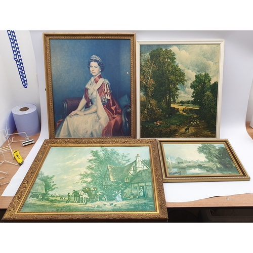412 - Print of the Queen, print after Constable and two similar