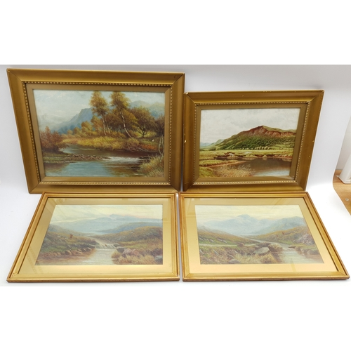 413 - Four landscape oil paintings and a watercolour