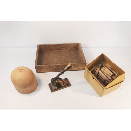 102 - Embossing Stamp,Hat Block,Box of Gypsy Pegs and a Wooden Tray