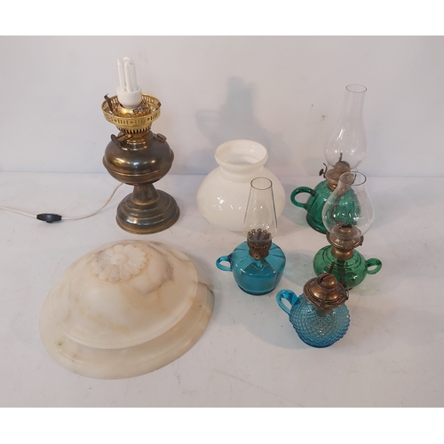 12 - Brass Oil Lamp converted to Electric,Four Glass Oil Lamps and a Glass Shade