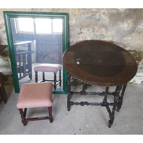 122 - Drop Leaf,Green Framed Mirror and a Stool