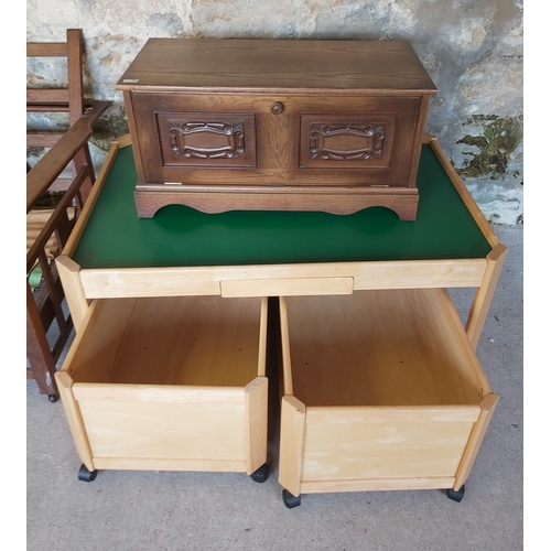 123 - TV Stand, Play Table with Toy Storage Boxes on Wheels
