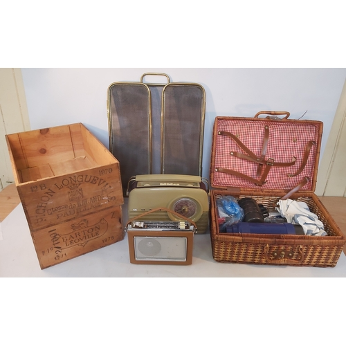 21 - Vintage wicker picnic hamper with some contents,Two Wine Boxes, Metal Fire Screen and Two Portable R...