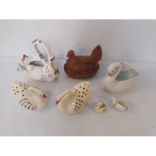 23 - Collection of Ceramic Swans and a Box of Oriental Bric a Brac
