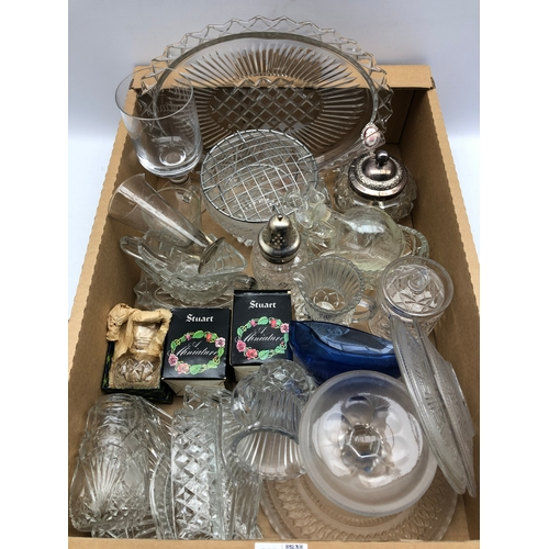 302 - Early 20th century and later glass including a silver mounted posy vase, sugar sifter, Stuart glass ...