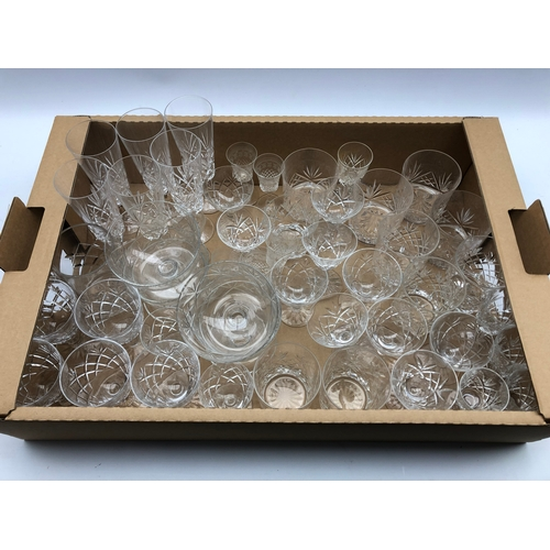 303 - Collection of cut glass drinking glasses, some stamped Richardson, and other glassware in one box