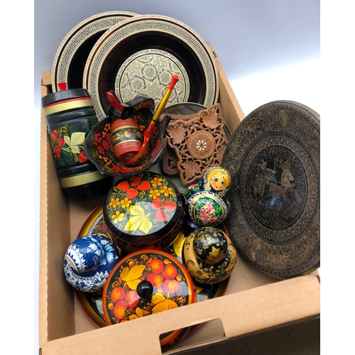 309 - Russian papier mache tray and containers, Russian dolls, pair of Indian circular inlaid dishes etc