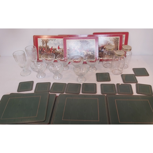 31 - Box of glass storage jars, glass fruit bowls and place mats